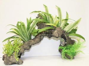 Композиция из искусственных растений и коряги 45х20х28см